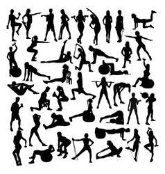 Woman sport fitness and gym activity vector