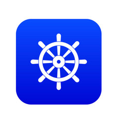 wooden ship wheel icon digital blue vector image