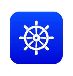 wooden ship wheel icon digital blue vector image