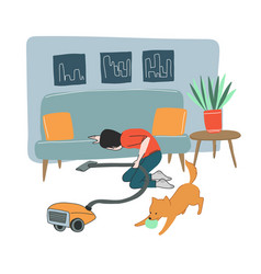 young man cleaning floor with vacuum cleaner vector image