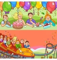 Child Birthday Cartoon Banner Set vector image vector image