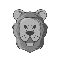 Face of a lion icon black monochrome style vector image