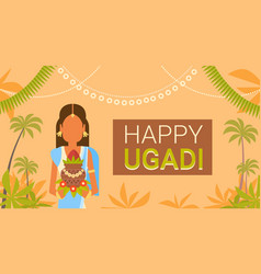happy ugadi and gudi padwa hindu new year greeting vector image