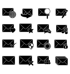message email icons set vector image