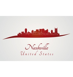Nashville skyline in red vector image vector image