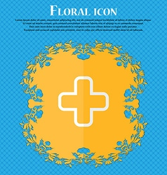 Plus Floral flat design on a blue abstract vector image vector image