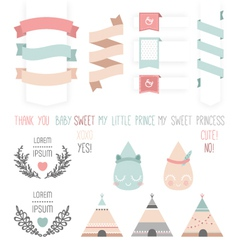 Set of cute ribbons labels droplet vector image vector image