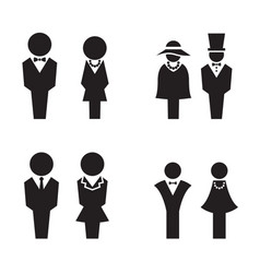 silhouette wc restroom toilet icons set vector image vector image