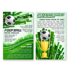 Soccer ball and trophy on football stadium banner vector