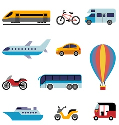 Colorfull flat transport icons vector image