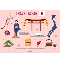 Japan travel background with place for text Set vector image