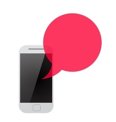 smartphone with red transparent speech bubble vector image vector image