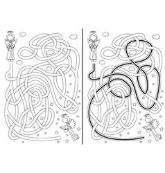 Angel maze vector image