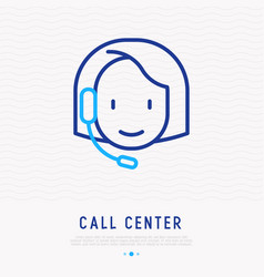 call center operator with headset vector image