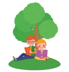 Children outdoors reading a book vector image vector image