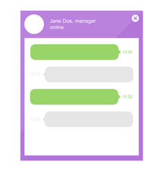 flat design online chat with manager template vector image vector image