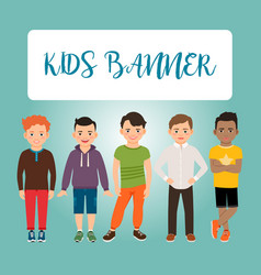 kids banner with boys vector image vector image