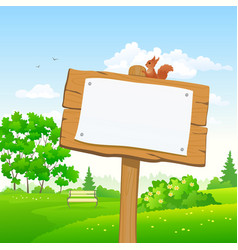 signboard in a park vector image vector image
