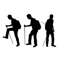 silhouettes of people trekking vector image vector image