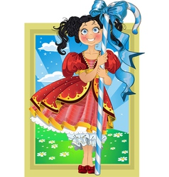 Small brunette girl with candy on Fairytale vector image vector image