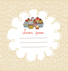 32 card with cupcakes on a background with hand vector image