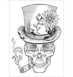 cool looking skull in top hat smoking cigar vector image