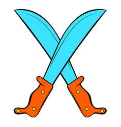 crossed machetes icon cartoon vector image