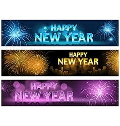 Happy New Year Banner Set vector image vector image