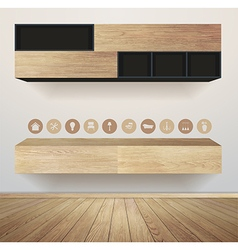 Living room interior with furniture flat icons vector image vector image