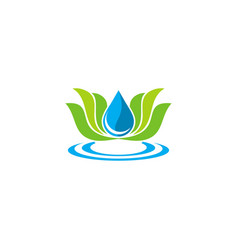 lotus flower ecology water logo vector image vector image