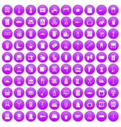 100 housework icons set purple vector