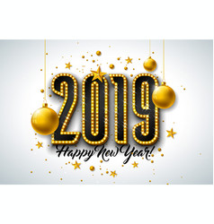 2019 happy new year with 3d light vector