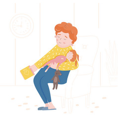 a sleeping family daughter and father fell asleep vector image