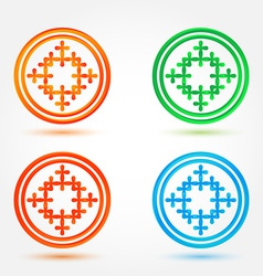 Abstract icons set made of circles and crosses vector