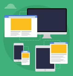 adaptive web design on different devices vector image