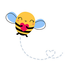 Adorable honey bee flying with heart cute insect vector