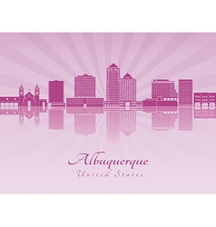 albuquerque skyline in purple radiant orchid vector image