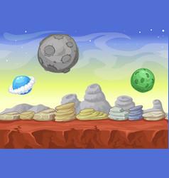 Alien fantastic landscape seamless background vector