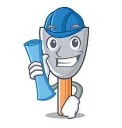 architect character putty knife isolated vector image