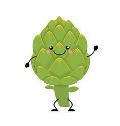 artichoke in flat styl vector image