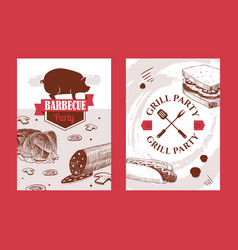 barbecue banners with hand drawn food vector image