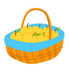 Basket with apple fruit in wicker pottle vector