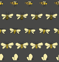 Bees line up on gray background seamless vector