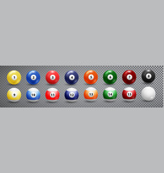 billiard pool balls collection snooker vector image