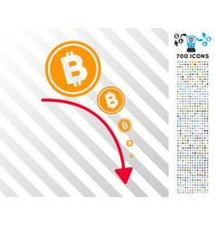 Bitcoin deflation trend flat icon with bonus vector