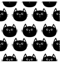 Black cat cute cartoon character baby pet vector