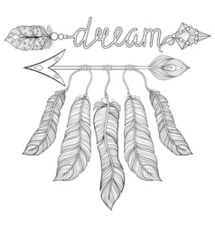 Boho chic ethnic dream Arrow with feathers dream vector image