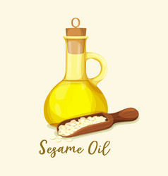 Bottle with golden sesame oil and seeds in spoon vector