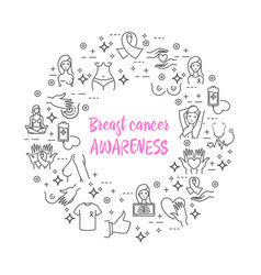 Breast cancer awareness icons vector