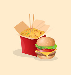 burger and noodles wok - cute cartoon colored vector image